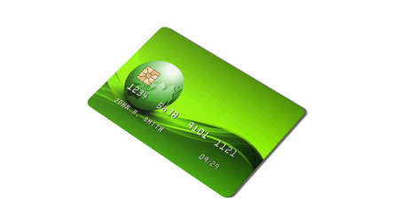 Credit card, green plastic payment card with chip isolated on white background, side view, 3D rendering