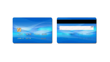 Credit card, plastic payment card with chip isolated on white background, front and back view, 3D rendering