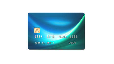 Credit card, plastic payment card with chip isolated on white background, front view, 3D rendering