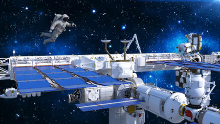 Astronaut floating above space station, cosmonaut in space with spacecraft and stars in the background, 3D rendering