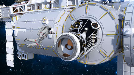 Astronaut entering space station through airlock, cosmonaut in space next to a spacecraft, 3D rendering