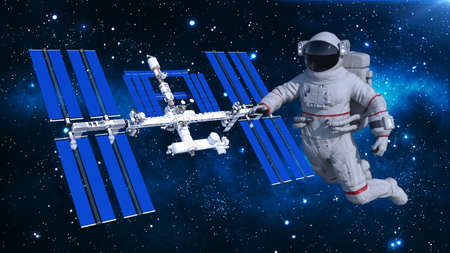Astronaut floating above space station, cosmonaut in space with spacecraft in the background, 3D rendering Banco de Imagens