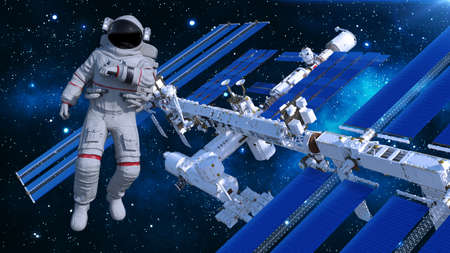 Astronaut in space floating above space station, cosmonaut with spacecraft in the background, 3D rendering
