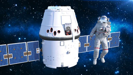 Astronaut with satellite checking air, cosmonaut in spacesuit floating in space with spacecraft in the background, 3D rendering Banco de Imagens