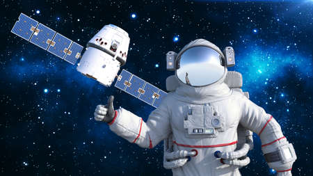 Astronaut with satellite showing thumbs up, cosmonaut floating in space with spacecraft in the background, 3D rendering Banco de Imagens