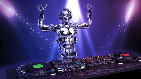 DJ Robot, disc jockey cyborg with hands up playing music on turntables, android on stage with deejay audio equipment, 3D rendering