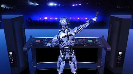 DJ Robot, disc jockey cyborg with microphone playing music on turntables, android on stage with deejay audio equipment, back view, 3D rendering Banco de Imagens