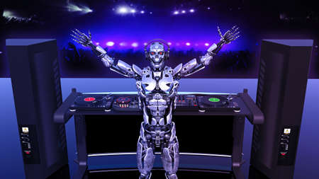 DJ Robot, disc jockey cyborg playing music on turntables, android on stage with deejay audio equipment, rear view, 3D rendering