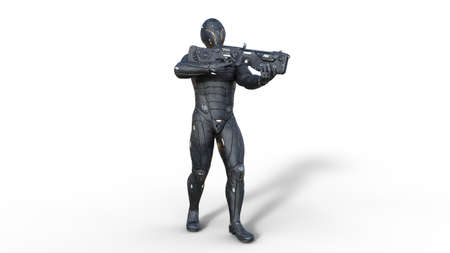 Futuristic android soldier in bulletproof armor, military cyborg armed with sci-fi rifle gun standing and shooting on white background, 3D rendering Archivio Fotografico - 127571611
