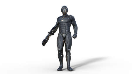 Futuristic android soldier in bulletproof armor, military cyborg armed with sci-fi rifle gun standing on white background, 3D rendering