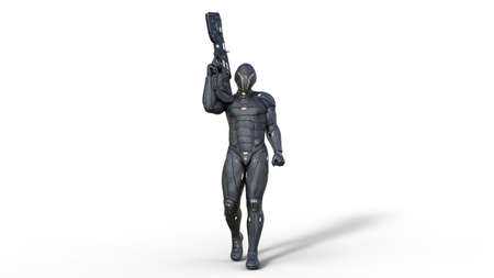 Futuristic android soldier in bulletproof armor, military cyborg armed with sci-fi rifle gun walking on white background, 3D rendering