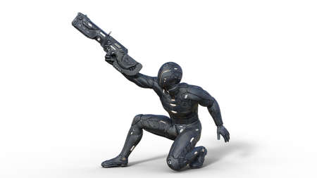 Futuristic android soldier in bulletproof armor, military cyborg armed with sci-fi rifle gun crouching and shooting on white background, 3D rendering