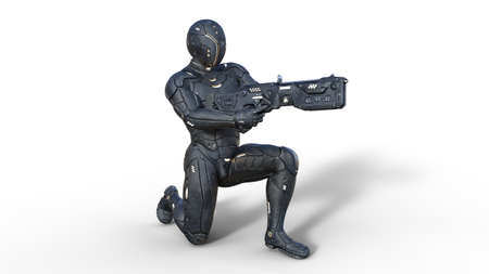 Futuristic android soldier in bulletproof armor, military cyborg armed with sci-fi rifle gun kneeling on white background, 3D rendering