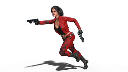 Action girl shooting guns, woman in red leather suit running with hand weapons on white background, 3D rendering
