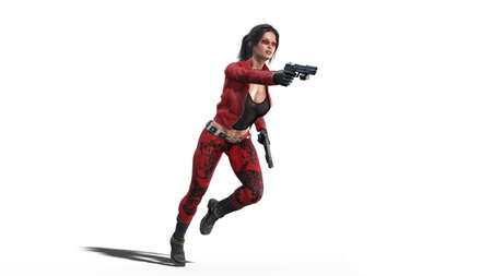 Action girl shooting guns, woman in red leather suit with hand weapons running on white background, 3D rendering