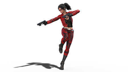 Action girl in jump shooting guns, woman in red leather suit with hand weapons isolated on white background, 3D rendering Banco de Imagens