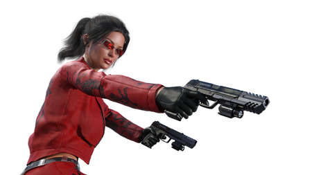 Action girl shooting guns, woman in red leather suit with hand weapons isolated on white background, close up view, 3D rendering Banco de Imagens