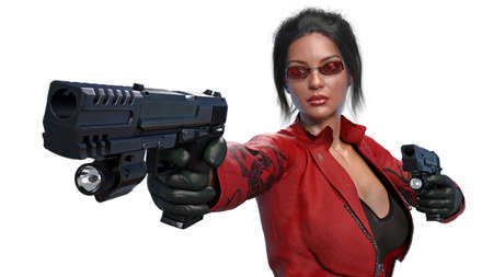 Action girl shooting guns, woman in red leather suit with hand weapons isolated on white background, front view, 3D rendering