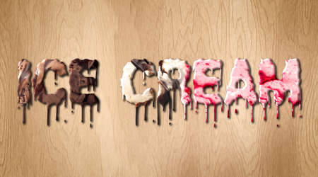 Ice Cream word covered with melting ice cream on a wooden cutting board Banco de Imagens