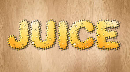 Juice word covered with bubbly orange juice on a wooden  cutting board