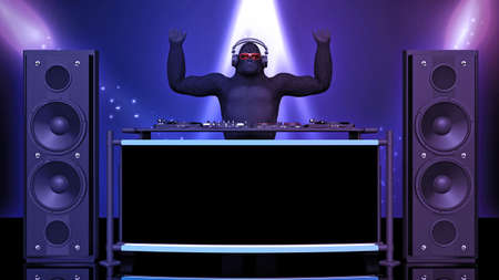DJ gorilla, disc jockey monkey with hands up playing music on turntables, ape on stage with deejay audio equipment, front view, 3D rendering