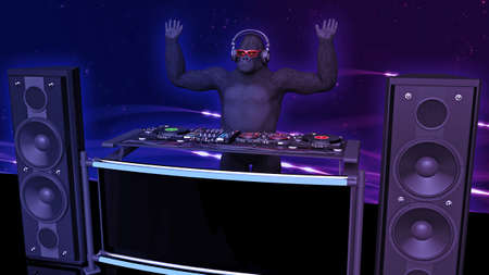 DJ gorilla, disc jockey monkey with hands up playing music on turntables, ape on stage with deejay audio equipment, side view, 3D rendering