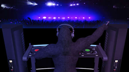 DJ gorilla, disc jockey monkey with microphone playing music on turntables, ape on stage with deejay audio equipment, back view, 3D rendering Banco de Imagens