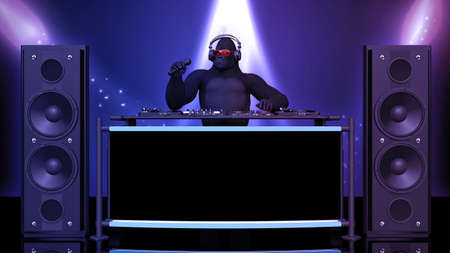 DJ gorilla, disc jockey monkey with microphone playing music on turntables, ape on stage with deejay audio equipment, front view, 3D rendering