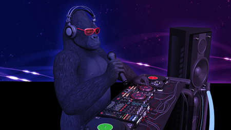 DJ gorilla, disc jockey monkey with microphone playing music on turntables, ape on stage with deejay audio equipment, side view, 3D rendering