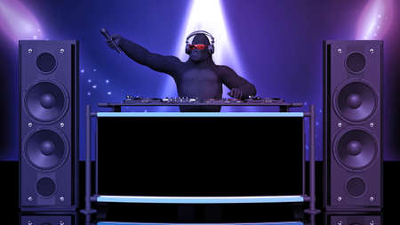 DJ gorilla, disc jockey monkey holding microphone and playing music on turntables, ape on stage with deejay audio equipment, 3D rendering Banco de Imagens