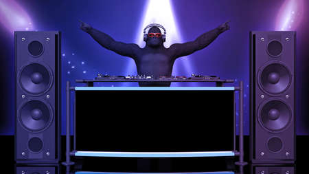 DJ gorilla, disc jockey monkey pointing and playing music on turntables, ape on stage with deejay audio equipment, front view, 3D rendering