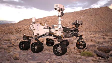 Mars Rover, robotic space autonomous vehicle on a deserted planet, side view, 3D illustration
