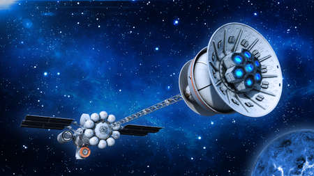 Spaceship with solar panels in deep space, UFO spacecraft flying in the Universe with planet and stars, rear bottom view, 3D rendering