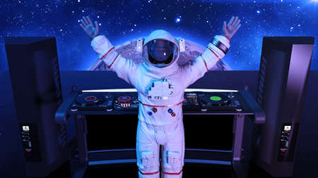 DJ astronaut, disc jockey spaceman playing music on turntables, cosmonaut on stage with deejay audio equipment, rear view, 3D rendering 写真素材