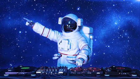 DJ astronaut, disc jockey spaceman pointing and playing music on turntables, cosmonaut on stage with deejay audio equipment, 3D rendering