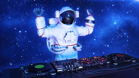 DJ astronaut, disc jockey spaceman with hands up playing music on turntables, cosmonaut on stage with deejay audio equipment, 3D rendering