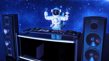 DJ astronaut, disc jockey spaceman with hands up playing music on turntables, cosmonaut on stage with deejay audio equipment, side view, 3D rendering 写真素材
