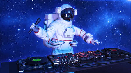 DJ astronaut, disc jockey spaceman with microphone playing music on turntables, cosmonaut on stage with deejay audio equipment, close up view, 3D rendering