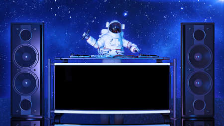 DJ astronaut, disc jockey spaceman with microphone playing music on turntables, cosmonaut on stage with deejay audio equipment, front view, 3D rendering