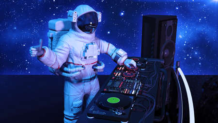 DJ astronaut, disc jockey spaceman with thumbs up playing music on turntables, cosmonaut on stage with deejay audio equipment, side view, 3D rendering 写真素材