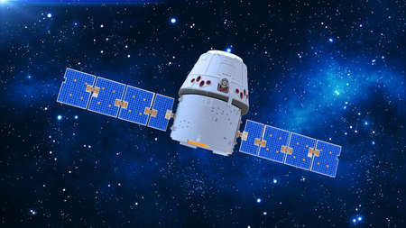 Space satellite, communication satellite with capsule and solar panels in cosmos with stars in the background, 3D rendering