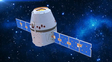 Space capsule, communication satellite with solar panels in cosmos with stars in the background, 3D rendering