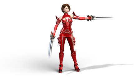 Asian warrior girl with claw blades performing martial arts, fighter woman in battle armor holding scythe weapon, isolated on white, 3D rendering