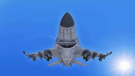 Fighter jet plane in flight, military aircraft, army airplane flying in sky with clouds, front bottom view, 3D rendering