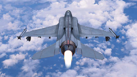Fighter jet plane in flight, military aircraft, army airplane flying in sky with clouds, rear top view, 3D rendering Stock Photo