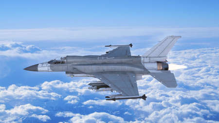 Fighter jet plane in flight, military aircraft, army airplane flying in sky with clouds, side view, 3D rendering