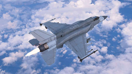 Fighter jet plane in flight, military aircraft, army airplane flying in sky with clouds, top view, 3D rendering
