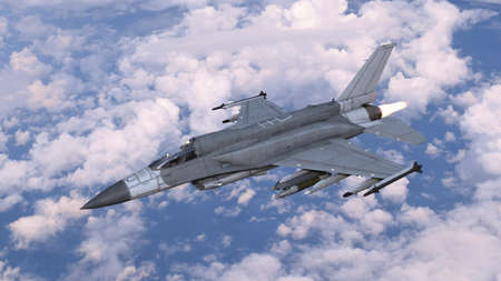 Fighter jet plane in flight, military aircraft, army airplane flying in cloudy sky, 3D rendering Stock Photo