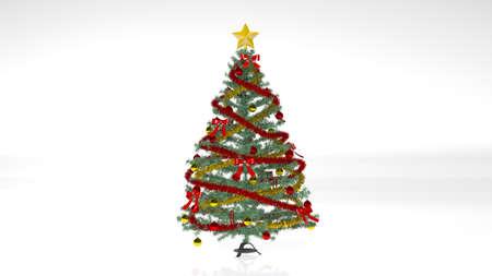 Albero di Natale con decorazioni e ornamenti isolati su sfondo bianco
