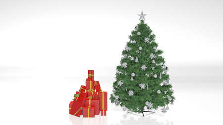 Christmas Tree with Decorations, Ornaments and Presents isolated on white background Stock Photo